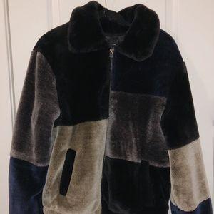UO Colorblock Teddy Coat